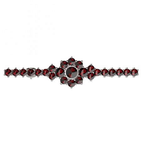 BG brooch 017 - Metal: Silver 925 - rhodium, Stone: Moldavit and garnet