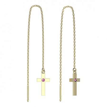 BeKid, Gold kids earrings -1104 - Switching on: Chain 9 cm, Metal: Yellow gold 585, Stone: Pink cubic zircon