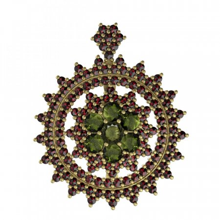 BG brooch 230 - Metal: Silver - gold plated 925, Stone: Garnet