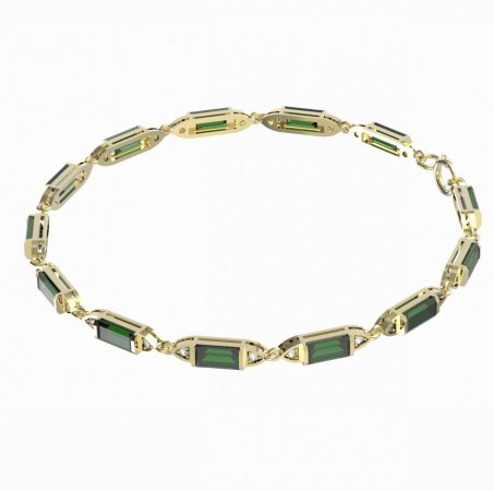 BG bracelet 645 - Metal: Yellow gold 585, Stone: Moldavite and cubic zirconium