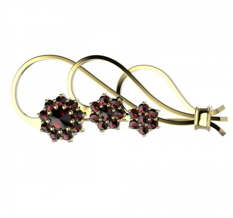 BG brooch 063 - Metal: Yellow gold 585, Stone: Garnet