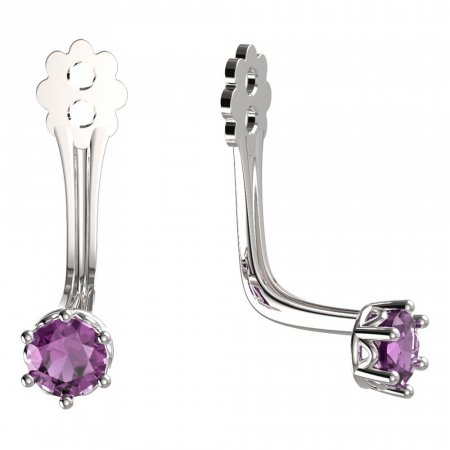BeKid Gold earrings components 3 - Metal: White gold 585, Stone: Pink cubic zircon