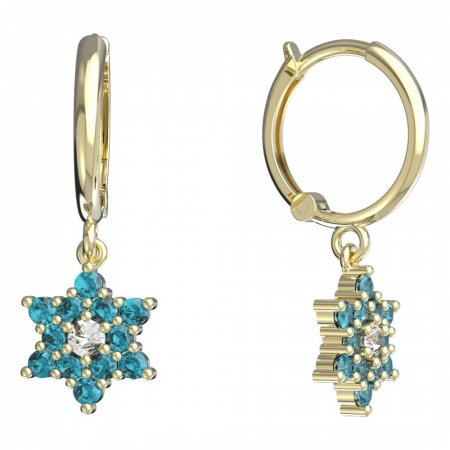 BeKid, Gold kids earrings -090 - Switching on: Circles 12 mm, Metal: Yellow gold 585, Stone: Light blue cubic zircon