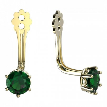 BeKid Gold earrings components 4 - Metal: Yellow gold 585, Stone: Green cubic zircon