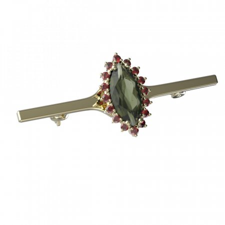BG brooch 513I - Metal: White gold 585, Stone: Moldavit and garnet