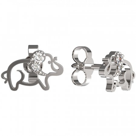 BeKid, Gold kids earrings -1158 - Switching on: Puzeta, Metal: White gold 585, Stone: Diamond