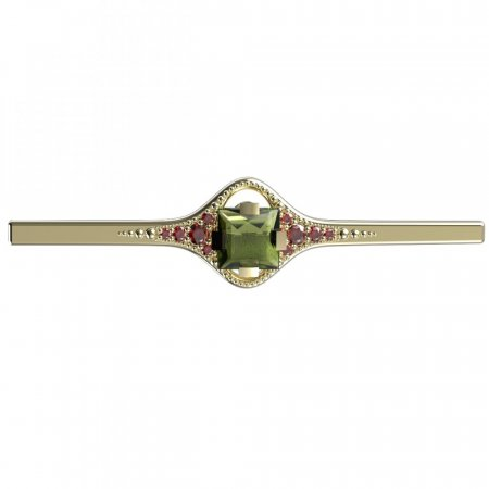 BG brooch 496K - Metal: Silver - gold plated 925, Stone: Moldavit and garnet