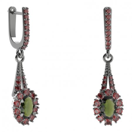 BG earring oval 498-G91 - Metal: Silver 925 - rhodium, Stone: Moldavit and garnet