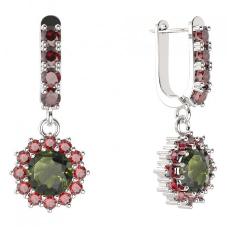 BG circular earring 098-96 - Metal: Silver - gold plated 925, Stone: Moldavite and cubic zirconium