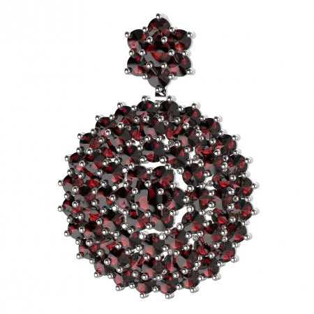 BG brooch 223 - Metal: White gold 585, Stone: Garnet