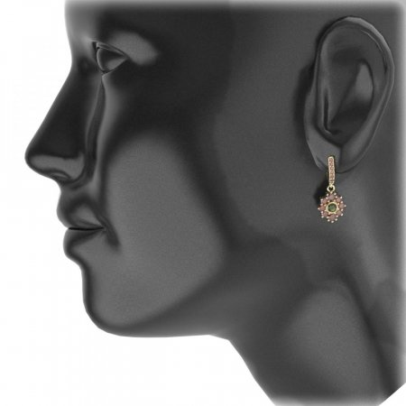 BG circular earring 017-96 - Metal: Silver - gold plated 925, Stone: Moldavit and garnet