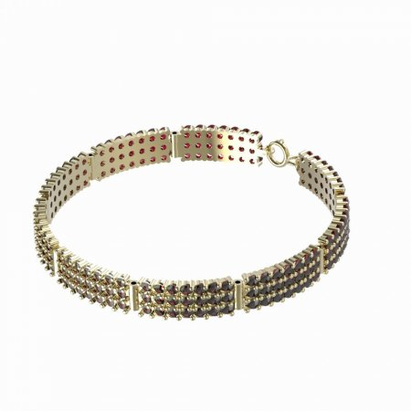 BG bracelet 042 - Metal: Yellow gold 585, Stone: Garnet