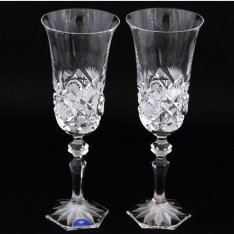 Set of two crystal handmade champagne cups Šafránek 408