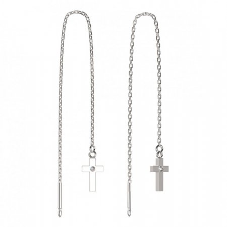 BeKid, Gold kids earrings -1105 - Switching on: Chain 9 cm, Metal: White gold 585, Stone: White cubic zircon