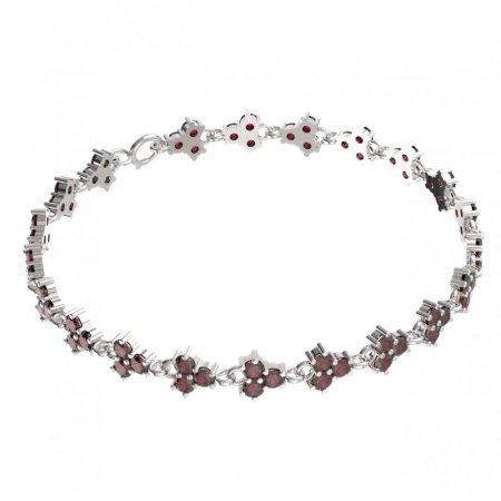 BG bracelet 195 - Metal: White gold 585, Stone: Moldavit and garnet