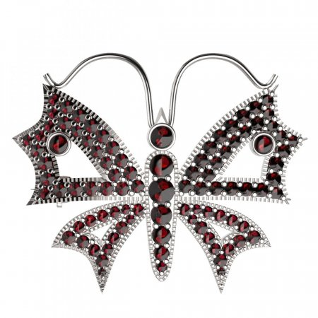 BG brooch 122 - Metal: Silver - gold plated 925, Stone: Moldavit and garnet