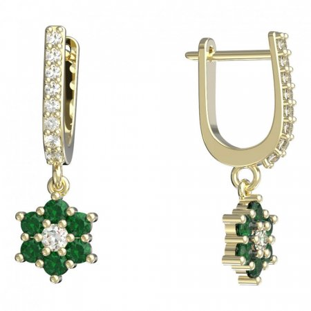 BeKid, Gold kids earrings -109 - Switching on: English, Metal: Yellow gold 585, Stone: Green cubic zircon