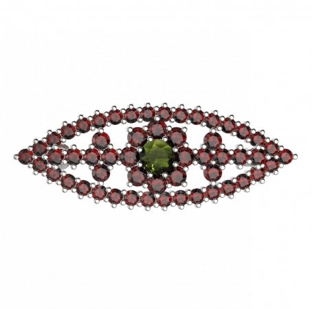 BG brooch 004 - Metal: Yellow gold 585, Stone: Garnet