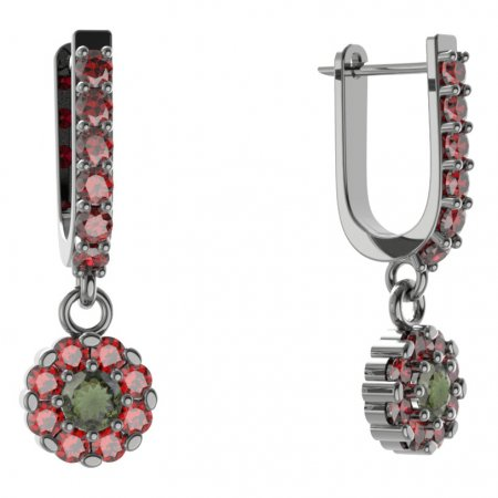 BG circular earring 088-94 - Metal: White gold 585, Stone: Moldavit and garnet