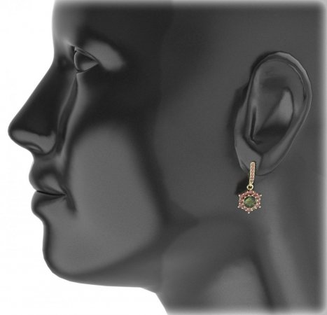 BG circular earring 230-84 - Metal: Yellow gold 585, Stone: Moldavit and garnet