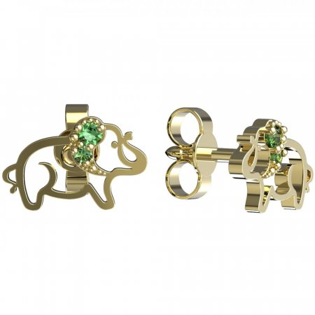 BeKid, Gold kids earrings -1158 - Switching on: Puzeta, Metal: Yellow gold 585, Stone: Green cubic zircon