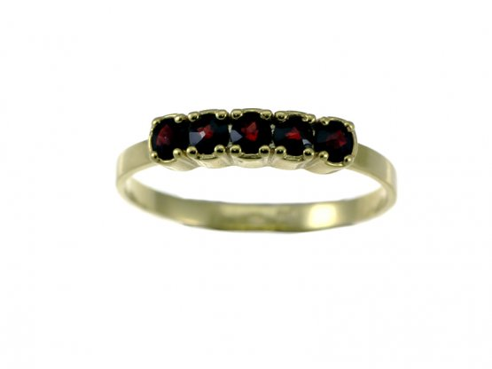 BG garnet ring 461 - Metal: Silver - gold plated 925, Stone: Garnet
