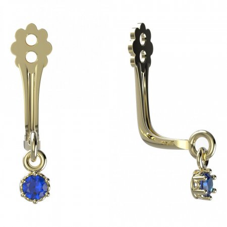 BeKid Gold earrings components I2 - Metal: Yellow gold 585, Stone: Dark blue cubic zircon