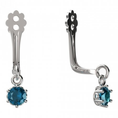 BeKid Gold earrings components I3 - Metal: White gold 585, Stone: Light blue cubic zircon