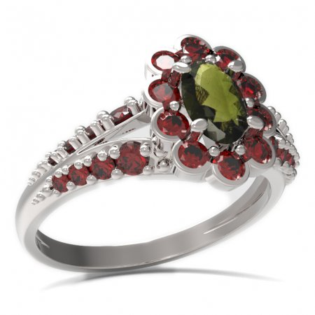 BG ring oval 517-G - Metal: Silver 925 - rhodium, Stone: Moldavit and garnet