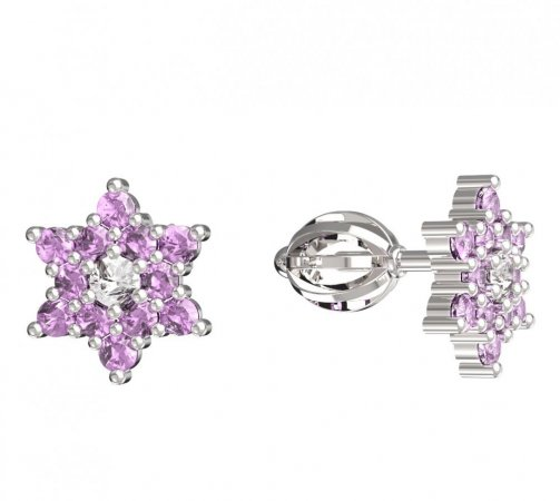 BeKid, Gold kids earrings -090 - Switching on: Screw, Metal: White gold 585, Stone: Pink cubic zircon