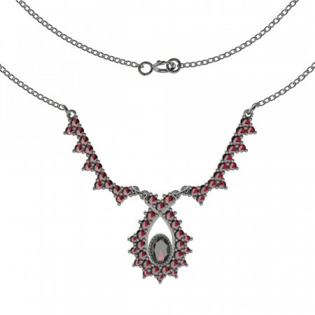 BG necklace 180 - Metal: Silver 925 - rhodium, Stone: Garnet