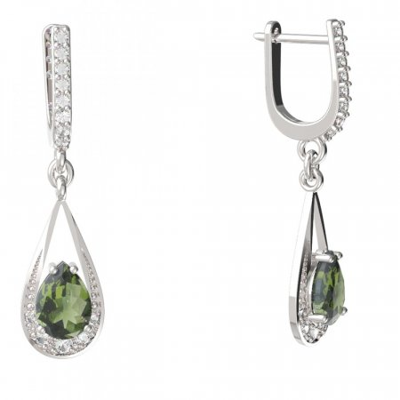 BG earring drop stone moldavit 638 - Metal: Yellow gold 585, Stone: Moldavite and cubic zirconium