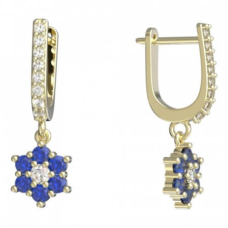 BeKid, Gold kids earrings -109 - Switching on: English, Metal: Yellow gold 585, Stone: Dark blue cubic zircon