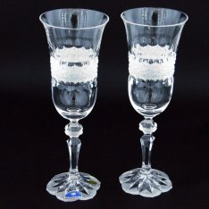 Set of two crystal handmade champagne cups Šafránek 206