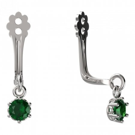 BeKid Gold earrings components I3 - Metal: White gold 585, Stone: Green cubic zircon
