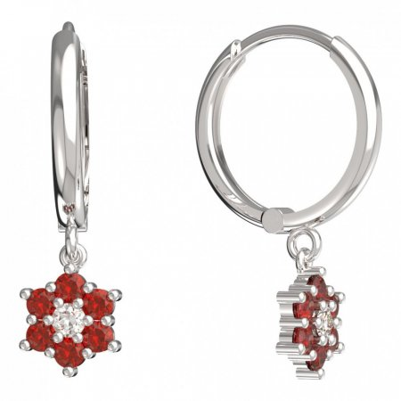 BeKid, Gold kids earrings -109 - Switching on: Circles 15 mm, Metal: White gold 585, Stone: Red cubic zircon