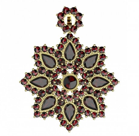 BG brooch 203 - Metal: White gold 585, Stone: Garnet