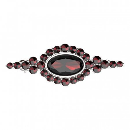 BG brooch 355 - Metal: White gold 585, Stone: Moldavit and garnet
