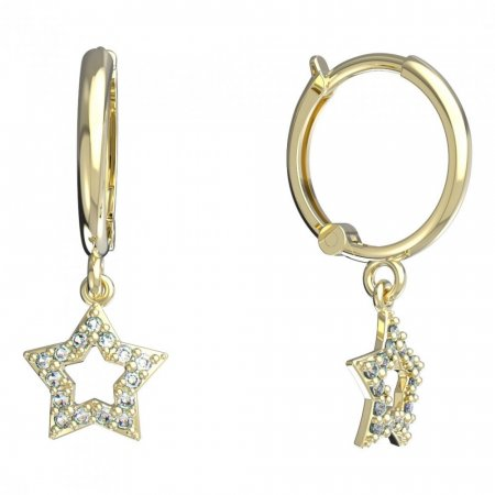 BeKid, Gold kids earrings -826 - Switching on: Brizura 0-3 roky, Metal: Yellow gold 585, Stone: White cubic zircon