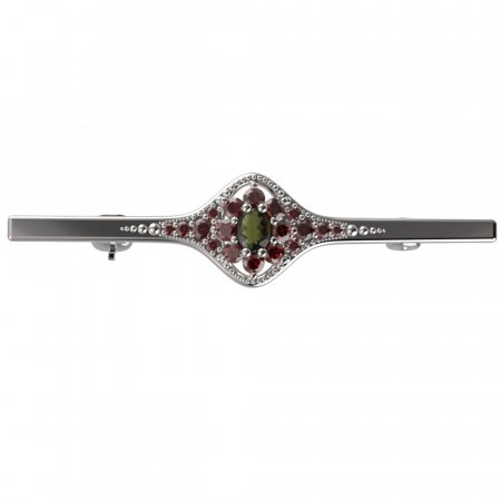 BG brooch 627K - Metal: Silver 925 - rhodium, Stone: Moldavit and garnet