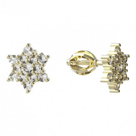 BeKid, Gold kids earrings -090 - Switching on: English, Metal: Yellow gold 585, Stone: Light blue cubic zircon