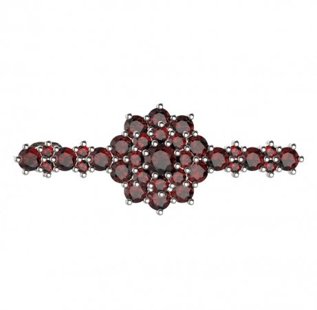 BG brooch 011 - Metal: Yellow gold 585, Stone: Moldavit and garnet