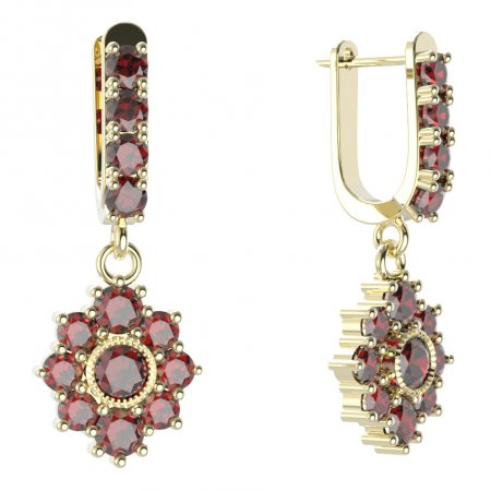 BG circular earring 017-96 - Metal: Yellow gold 585, Stone: Moldavit and garnet