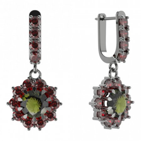 BG circular earring 011-96 - Metal: Silver - gold plated 925, Stone: Moldavite and cubic zirconium