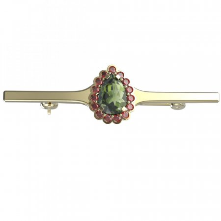 BG brooch 519I - Metal: Yellow gold 585, Stone: Garnet