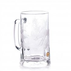 Hand engraved crystal beer pill 0,5l Aida deer SRQA0DU04