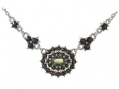 BG necklace with moldavite and garnet 750