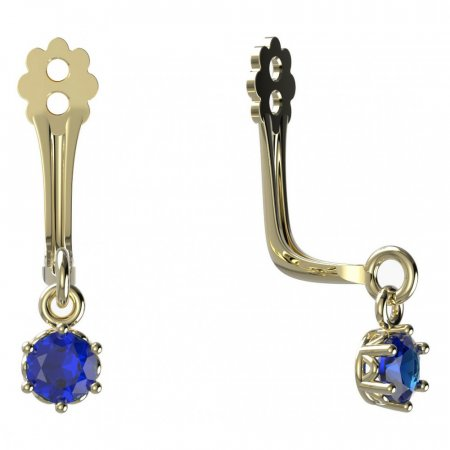 BeKid Gold earrings components I3 - Metal: Yellow gold 585, Stone: Dark blue cubic zircon