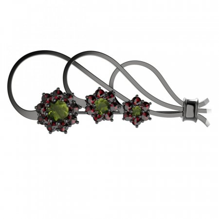 BG brooch 063 - Metal: Silver - gold plated 925, Stone: Moldavit and garnet