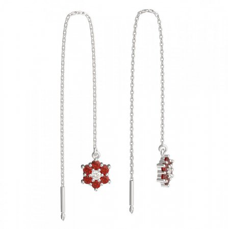 BeKid, Gold kids earrings -109 - Switching on: Chain 9 cm, Metal: White gold 585, Stone: Red cubic zircon